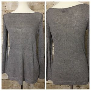 VINCE 100% linen knit gray long sleeve top